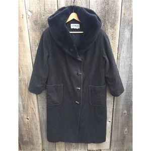 VTG L.L. Bean Duffle Coat, Faux Fur Lined Hood